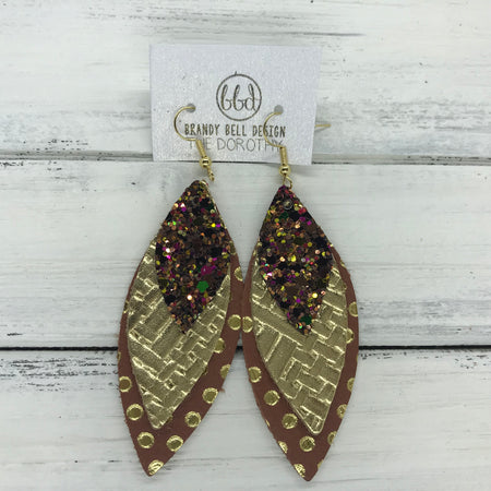 DOROTHY - Leather Earrings  ||  <BR> AUTUMN HARVEST GLITTER (NOT REAL LEATHER), <BR> METALLIC GOLD PANAMA WEAVE, <BR> BROWN WITH METALLIC GOLD POLKADOTS