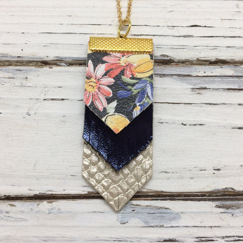 ARIA - Leather Necklace  || FLORAL WITH BLACK BACKGROUND, METALLIC NAVY BLUE, METALLIC CHAMPAGNE COBRA