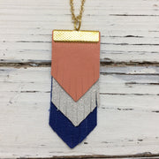 ARIA - Leather Necklace  || MATTE CORAL, SHIMMER ROSE GOLD, MATTE COBALT BLUE