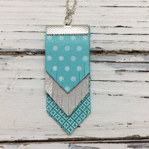 ARIA - Leather Necklace || AQUA WITH WHITE POLKA DOTS, SHIMMER ROSE GOLD, AQUA WITH WHITE LATTICE