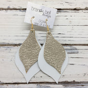 EVE - Leather Earrings  || METALLIC CHAMPAGNE TEXTURE, MATTE WHITE