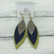DOROTHY - Leather Earrings  ||  <BR> GLAMOUR GLITTER (NOT REAL LEATHER), <BR> MATTE NAVY BLUE, <BR> PEARLIZED OCHRE