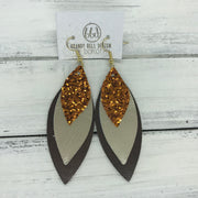 DOROTHY - Leather Earrings  ||  <BR> ORANGE GLITTER (NOT REAL LEATHER), <BR>METALLIC CHAMPGANE SMOOTH, <BR> PEARLIZED BROWN