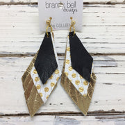 COLLEEN -  Leather Earrings || matte black, metallic gold, white with gold polka dots