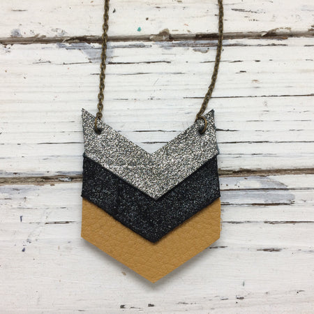 EMERSON - Leather Necklace  || SHIMMER PEWTER, SHIMMER BLACK, MATTE MUSTARD/OCHRE