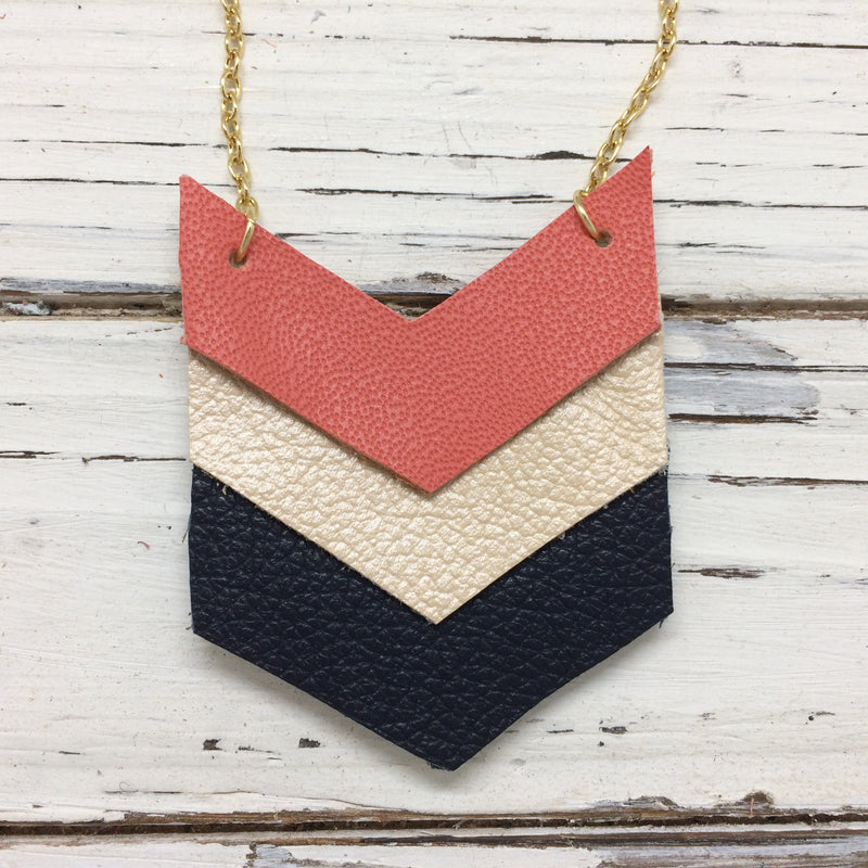 EMERSON - Leather Necklace  || MATTE CORAL, PEARLIZED IVORY, MATTE NAVY BLUE
