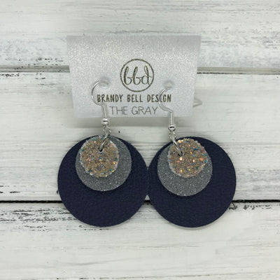 GRAY - Leather Earrings  ||    <BR> GLAMOUR GLITTER (NOT REAL LEATHER), <BR>SHIMMER GRAY,  <BR> MATTE NAVY BLUE