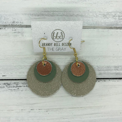 GRAY - Leather Earrings  ||    <BR> METALLIC COPPER, <BR> MATTE AVOCADO GREEN,  <BR> SHIMMER TAUPE