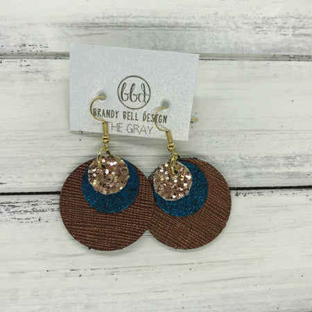 GRAY - Leather Earrings  ||    <BR> ROSE GOLD GLITTER (NOT REAL LEATHER), <BR> SHIMMER TEAL,  <BR> METALLIC BRONZE SAFFIANO