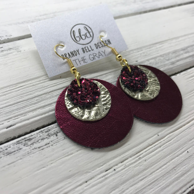 GRAY - Leather Earrings  ||    <BR> BURGUNDY GLITTER (NOT REAL LEATHER), <BR>METALLIC CHAMPAGNE WESTERN FLORAL,  <BR> METALLIC CRANBERRY SMOOTH