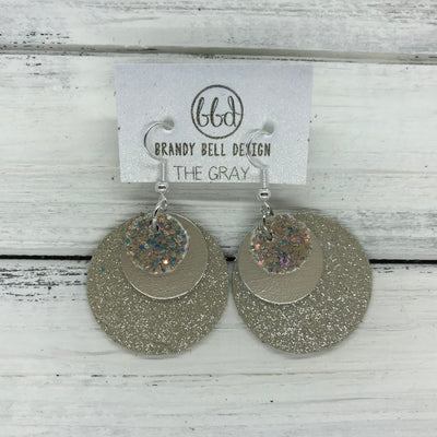 GRAY - Leather Earrings  ||    <BR> GLAMOUR GLITTER (NOT REAL LEATHER), <BR>METALLIC CHAMPAGNE SMOOTH,  <BR> SHIMMER TAUPE