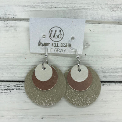 GRAY - Leather Earrings  ||    <BR> PEARL WHITE, <BR>METALLIC ROSE GOLD SMOOTH,  <BR> SHIMMER TAUPE