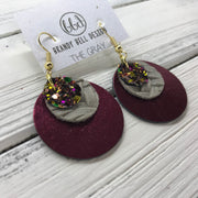 GRAY - Leather Earrings  ||    <BR> AUTUMN HARVEST GLITTER (NOT REAL LEATHER), <BR> GRAY BRAIDED WEAVE,  <BR> METALLIC CRANBERRY SMOOTH