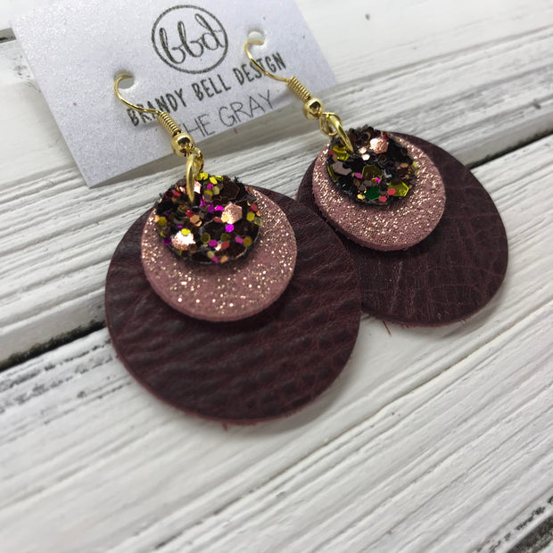 GRAY - Leather Earrings  ||    <BR> AUTUMN HARVEST GLITTER (NOT REAL LEATHER), <BR> SHIMMER VINTAGE PINK,  <BR> DISTRESSED MERLOT