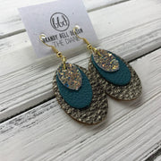 DIANE - Leather Earrings  ||    <BR> GLAMOUR GLITTER (NOT REAL LEATHER) , <BR> MATTE DARK TEAL  BR> PEARLIZED BROWN PEBBLED,