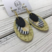 DIANE - Leather Earrings  ||    <BR> MATTE BLACK , <BR> STRIPE WITH YELLOW FLORAL, BR> YELLOW PANAMA WEAVE