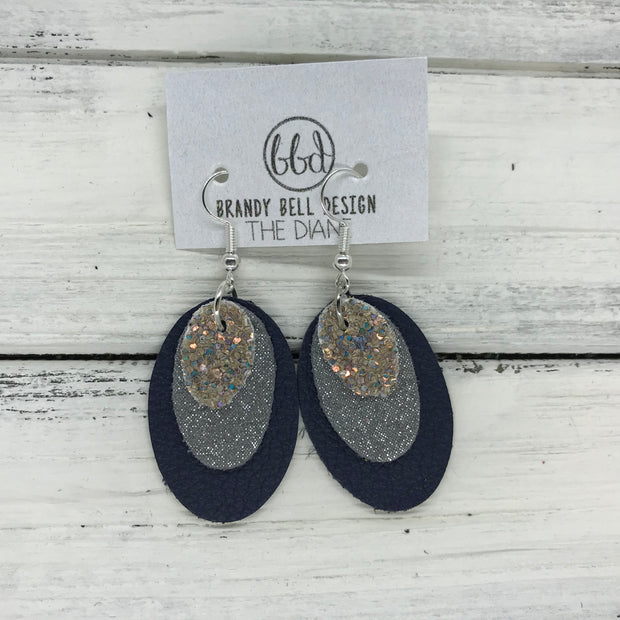 DIANE - Leather Earrings  ||    <BR> GLAMOUR GLITTER (NOT REAL LEATHER), <BR> SHIMMER GRAY, BR> MATTE NAVY BLUE