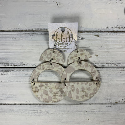 "OLIVIA -  Leather Earrings  ||  <BR> *CORK* NUDE LEOPARD ANIMAL PRINT (choose ""U"" or ""N"" shape)"
