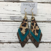 COLLEEN -  Leather Earrings  ||  CHEETAH PRINT, MATTE DARK TEAL, SHIMMER COOPER
