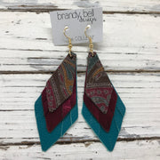 COLLEEN -  Leather Earrings  ||  MULTI COLOR PAISLY ON BROWN, METALLIC BURGUNDY, MATTE DARK TEAL