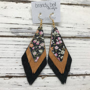 COLLEEN -  Leather Earrings  ||  MINI FLORAL ON BLACK, PEARLIZED TOPAZ, SHIMMER BLACK