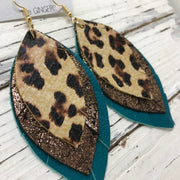 GINGER - Leather Earrings  ||  CHEETAH PRINT, SHIMMER COPPER ON BLACK, MATTE DARK TEAL