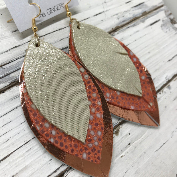 GINGER - Leather Earrings  ||  SHIMMER GOLD, ORANGE STINGRAY, METALLIC COPPER