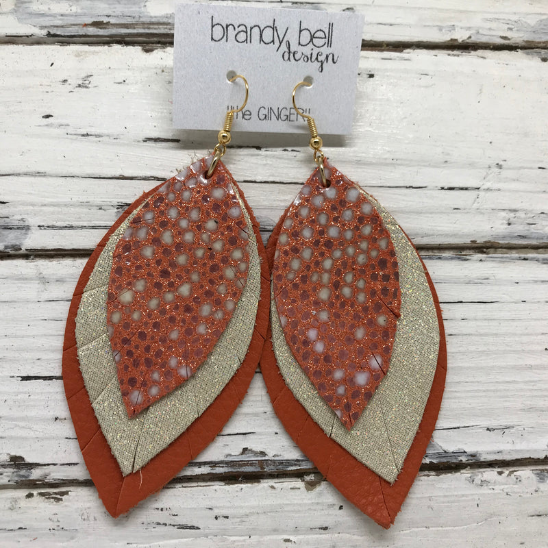 GINGER - Leather Earrings  ||  ORANGE STINGRAY, SHIMMER GOLD, MATTE ORANGE