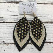 GINGER - Leather Earrings  ||  BLACK WITH METALLIC GOLD POLKADOTS, SHIMMER GOLD, MATTE BLACK