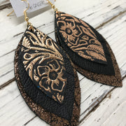 GINGER - Leather Earrings  ||  BLACK & METALLIC COPPER FLORAL, MATTE BLACK, SHIMMER COPPER ON BLACK