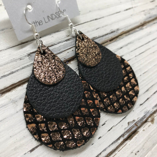 LINDSEY - Leather Earrings  ||  METALLIC SHIMMER COPPER, MATTE BLACK, METALLIC COPPER & BLACK MERMAID