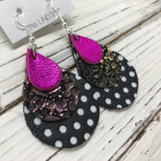 LINDSEY - Leather Earrings  ||  METALLIC NEON PINK, IRIDESCENT PURPLE/GREEN DRIPS, MATTE BLACK WITH WHITE POLKADOTS