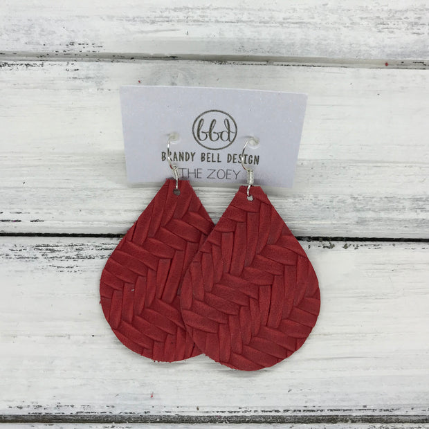 ZOEY (3 sizes available!) -  Leather Earrings  ||   RED BRAIDED