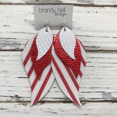 TAMARA - Leather Earrings  || MATTE WHIITE COBRA, METALLIC RED PEBBLED, MATTE WHITE WITH RED STRIPES