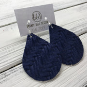 ZOEY (3 sizes available!) -  Leather Earrings  ||   NAVY BLUE BRAIDED