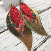 TAMARA - Leather Earrings  || METALLIC RED PEBBLED, TARTAN PLAID, METALLIC GOLD