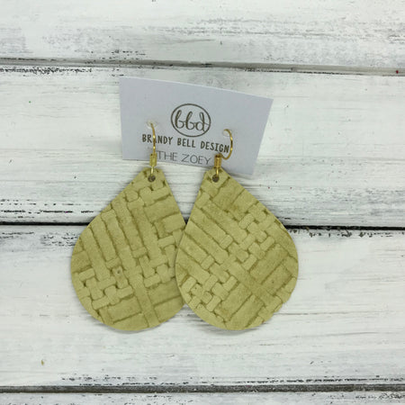miniZOEY + ZOEY -  Leather Earrings  ||   PALE YELLOW PANAMA WEAVE