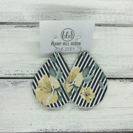 miniZOEY + ZOEY -  Leather Earrings  ||   YELLOW FLORAL ON BLACK & WHITE STRIPE