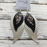 TAMARA - Leather Earrings  ||  MINI FLORAL ON BLACK, SHIMMER BLACK, METALLIC CHAMPAGNE COBRA
