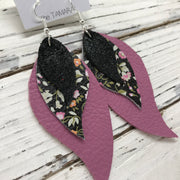 TAMARA - Leather Earrings  ||  SHIMMER BLACK, MINI FLORAL ON BLACK, MATTE MAUVE