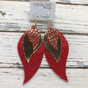TAMARA - Leather Earrings  ||  METALLIC GOLD ON RED, METALLIC GOLD, METALLIC RED PEBBLED