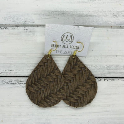ZOEY (3 sizes available!) -  Leather Earrings  ||   BROWN BRAIDED