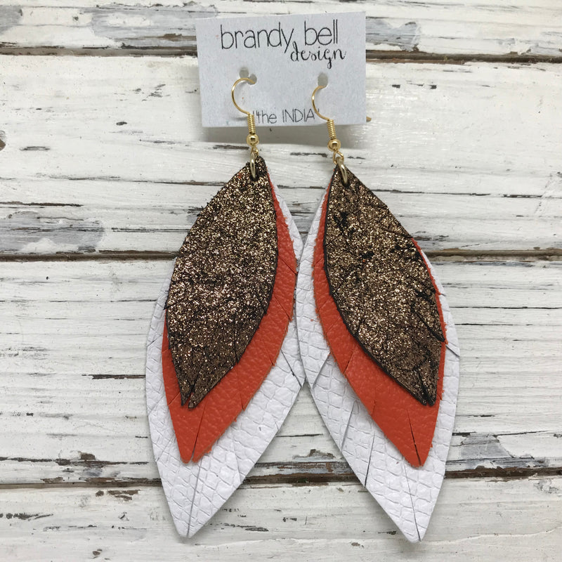 INDIA - Leather Earrings  ||   SHIMMER COPPER ON BLACK, MATTE ORANGE, MATTE WHITE COBRA