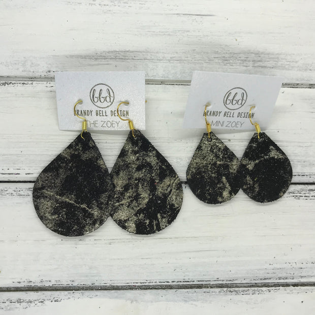 ZOEY (3 sizes available!) -  Leather Earrings  ||   METALLIC CHAMPAGNE NORTHERN LIGHTS ON BLACK