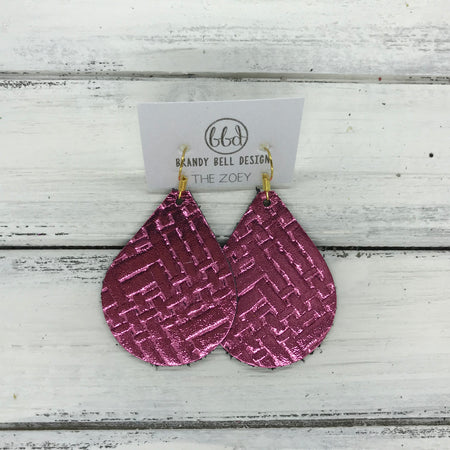 miniZOEY + ZOEY -  Leather Earrings  ||   METALLIC PINK PANAMA WEAVE