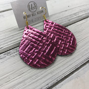 ZOEY (3 sizes available!) -  Leather Earrings  ||   METALLIC PINK PANAMA WEAVE