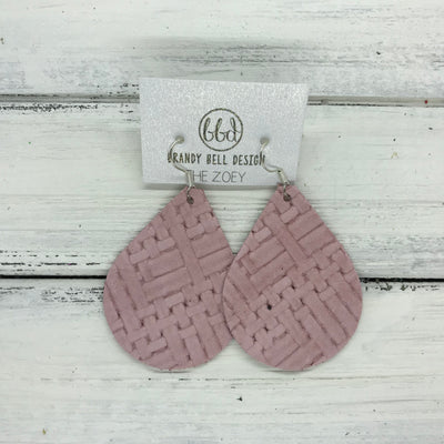 ZOEY (3 sizes available!) -  Leather Earrings  ||   MATTE LIGHT PINK PANAMA WEAVE
