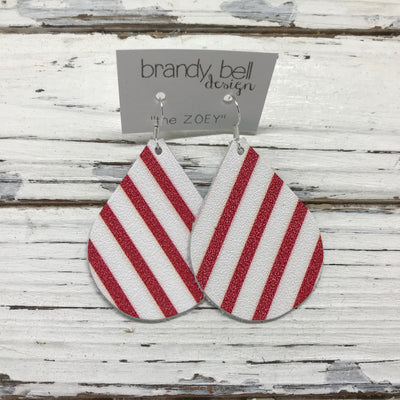 ZOEY (3 sizes available!) -  Leather Earrings  ||  WHITE WITH RED STRIPES