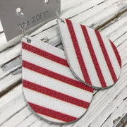 miniZOEY + ZOEY -  Leather Earrings  ||  WHITE WITH RED STRIPES