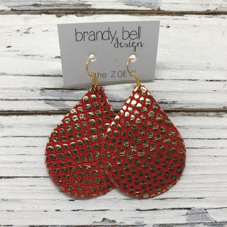 miniZOEY + ZOEY -  Leather Earrings  ||  METALLIC GOLD ON BRIGHT RED